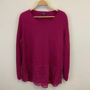 Lucky Brand Fuchsia Textured Sweater Lace 3X